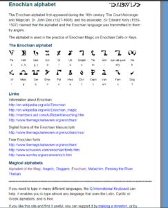 Enochian Alphabet